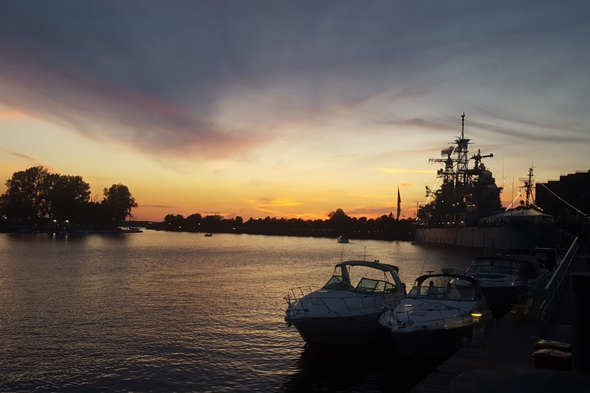 USS Little Rock at dusk