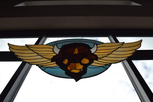 Stained glass logo at Flying Bison, Buffalo, NY
