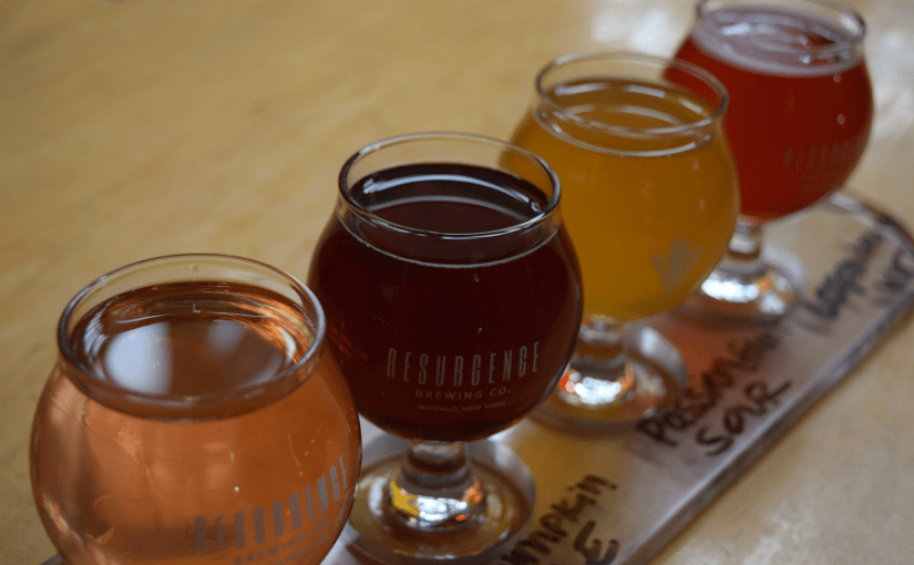 Flight at Resurgence Brewing Company, Buffalo, NY
