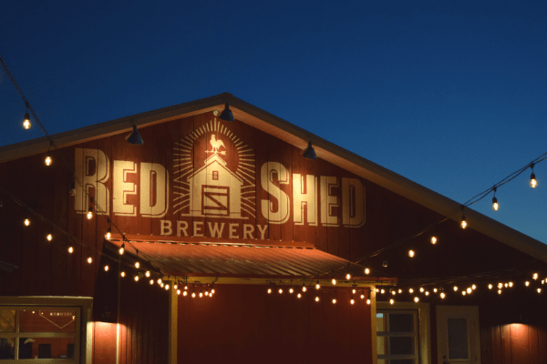 Beer garden at Red Shed Brewery Taproom in Cooperstown, NY