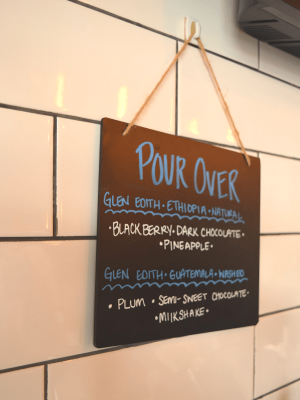 Pour over options at Craft Coffee House