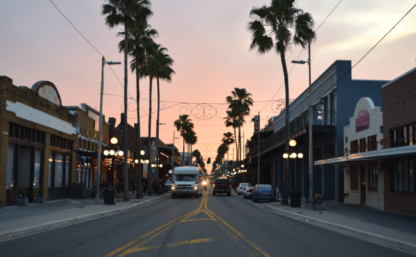 Ybor neighborhood of Tampa at sunset