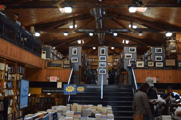Midtown Scholar's shelves of books greet visitors
