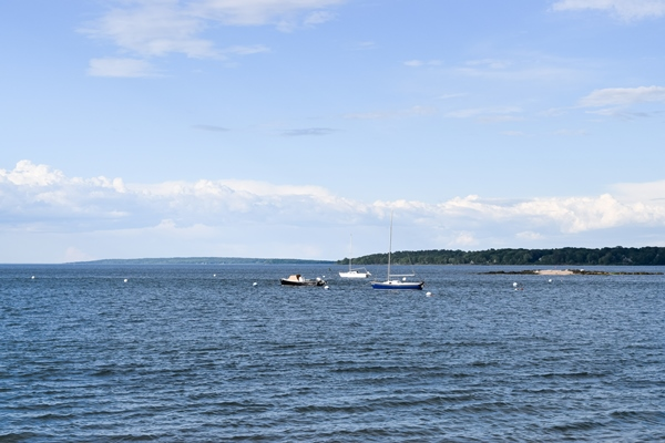 View of sailboats from Eastern Promenade Trail in Portland, Maine
