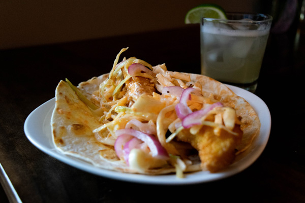 California fish taco from Cantina Loco in Buffalo paired with a margarita